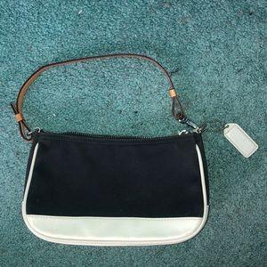 Black and white mini coach purse